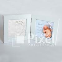 Комплект за бебешки отпечатък + снимка с данните от раждането