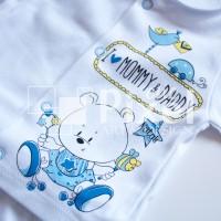 """Бебешки комплект """"Мече"""" със сини точки 3 части"""