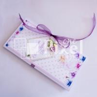 Плик - картичка за паричен подарък за кръщене в лилаво